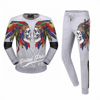 Boys & Men Philipp Plein Top Sweater Pants Hoodie Trousers Set Two-Piece Sportswear