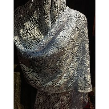 Vintage Styled Sheer Pale Blue lace crochet Shawl wrap