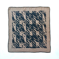 OROTON!!! Vintage 1970s 'Oroton' square silk scarf with abstracted foliage design in taupe and black