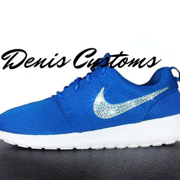Ready to ship in 2 days!!! Womens US 6, 7, 8 sizes Nike Roshe Run Blue Custom Swarovski Glitter Crystals Swoosh