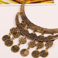 Golden Flower And Coin Drop Ornate Statement Necklace