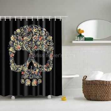 Black colorful Skull & Flowers Design Shower Curtain with 12 Hooks Multi-Size