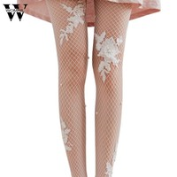 Sexy Flower Transparent Tights Women Lady Simulated Pearl Fishnet Tights Mesh Pantyhose