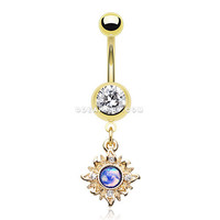 Golden Dainty Galaxy Sun Belly Button Ring (Clear)