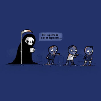 'Paperwork' Funny Grim Reaper Complaining About Zombies - Vinyl Sticker