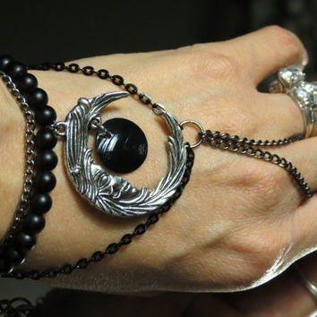 "Eclipse black moon ""Slave Bracelet"" Ring. Crafted with Gunmetal Chains. Adjustable. 6"" and up. Gothic."