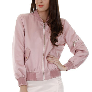 Celiné Dusty Rose Satin Bomber Jacket