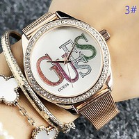 GUESS Fashion New Dial Colorful Shining Letter Diamond Round Shell Wristwatch Watch Women