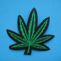 SALE~ Iron-on Embroidered Patch Cannabis 3.4 inch