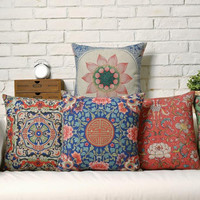 Decorative folk pillow cushion covers chinese style vintage pillowcase