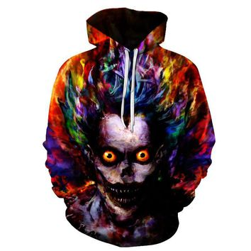 Horror Zombie Clown On Fire Face Hoodie Sweater