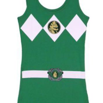 Power Rangers I Am Green Ranger Costume Sexy Tunic Tank Dress