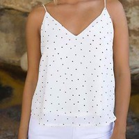 White Dot Print Spaghetti Strap Double V-Neck Cami Top