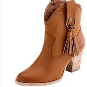 Spring Autumn Pointed Toe Ankle Boots With Tassels Women Boots Slip On Leather Cowboy Boots Women Shoes