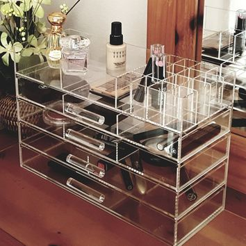 Ikee Design Large Clear Acrylic Jewelry and Cosmetic Storage Display Boxes | Overstock.com Shopping - The Best Deals on Makeup Cases