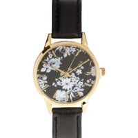 Black Floral Print Face Watch