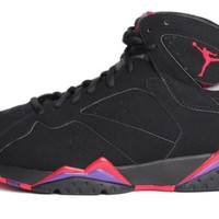"Nike Mens Air Jordan 7 Retro ""Raptor"" Black/True Red-Dark Charcoal-Purple Leather Basketball Shoes Size 8.5"