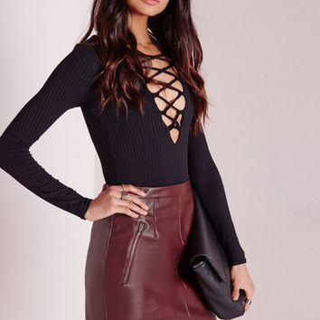 Burgundy Chic PU Leather Mini Skirts Casual Slim Clubwear for Women