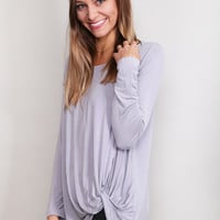 Knot Your Basic Long Sleeved Tee {Lilac}