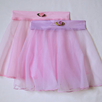 Pink or Lavender Sheer Circle Dance Skirt with Rose Trim