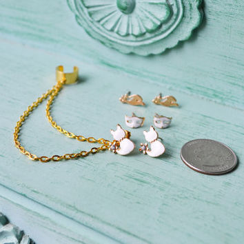 White Felines and Masks Gold Ear Cuff Set
