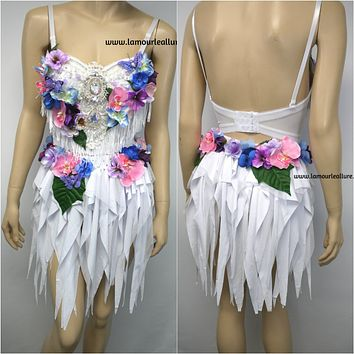 Iridescent Pink and Purple Flower Fairy Bra and Skirt Costume Dance Rave Halloween