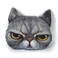 Gray Angry Cat Cushion