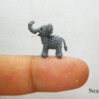 Extreme Tiny Elephant  Micro Crochet Miniature Animals  by SuAmi