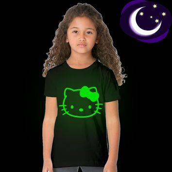 Luminous Hello Kitty Kids Girl T Shirt Glow In Dark Fashion Girl Princess Party T-shirt Fluorescent Animal Cat Tops Tees Baby