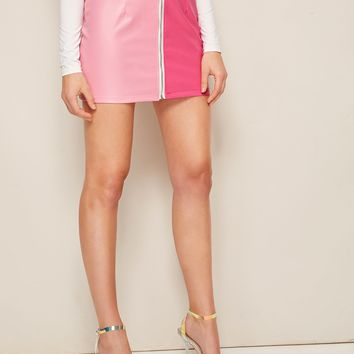 Zip Up Pink Two Tone Leather Skirt