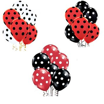 35pcs Ladybug Black Red Spot Polka dot latex balloons globos party Birthday presents balloons wedding Decorations