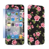 SkinGuardz Protective Vinyl Decal Sticker Skin for Apple iPhone 5C with Screen Protector - (Black Rose Garden)