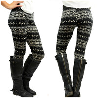 Starry Nights Black Printed Fleece Leggings - One