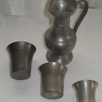 Vintage DUTCH PEWTER PITCHER with 3 Pewter Shot Cups/Vintage Pewter From Holland/Pitcher and Shot Cups/Makers Marks on Each Piece