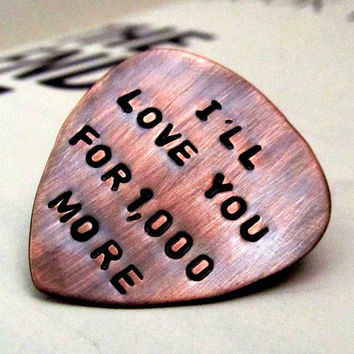 Custom Guitar Pick - Personalized Dad Gift - Hand Stamped Copper Guitar Pick - Mens Gift - Gift for Him engraved