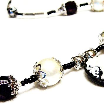 Black and White Beaded  Faux Pearl & Silhouette Morticia Necklace by Mystic Trinket Shop