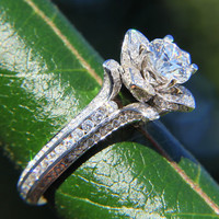 UNIQUE Flower Rose Diamond Engagement or Right Hand Semi mount Ring - 2.25 carat - 14K white gold - wedding - brides - fL01
