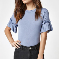 LA Hearts Ruffle Sleeve T-Shirt at PacSun.com