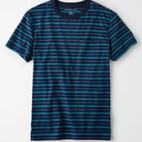 AE Striped Pocket T-Shirt, Navy