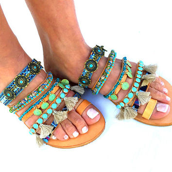 Sesami, Colorful Sandals, Greek Sandals, Summer shoes, Women's Shoes,  hippie leather shoes, boho sandals, oriental sandals