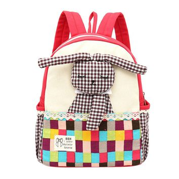 Toddler Kid Cute Rabbit Pattern Plaid Animals Backpack