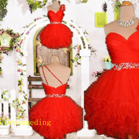 Red Ball gown Sleeveless One-shoulder Mini Organza Prom Dresses Formal Dresses Evening Dresses Party Dresses 2014 New Arrive