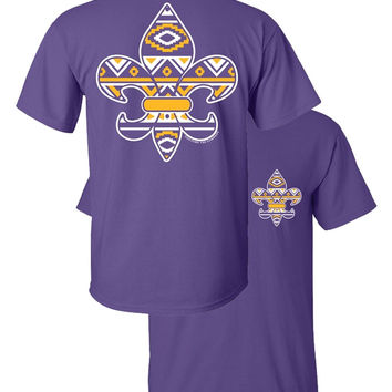 Southern Couture Tribal Aztec Fleur De Lis Faux Pocket LSU Purple Girlie Bright T Shirt