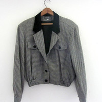 80s checkered houndstooth jacket coat. suit coat blazer. women's size Large
