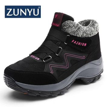 ZUNYU New Classic Women Winter Boots Suede Ankle Snow Boots Female Warm Plush High Quality Wedge Snow Waterproof Non-slip Boots