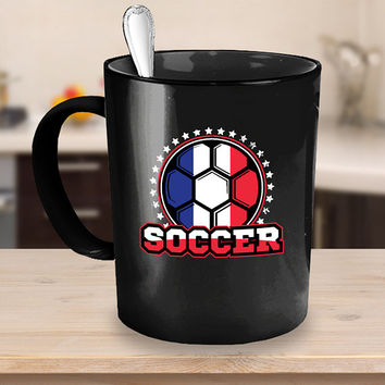 France Soccer Ball Coffee Mug 11 or 15oz Black Ceramic Cup, Soccer Gift, Soccer Player, Soccer Mug, France Flag