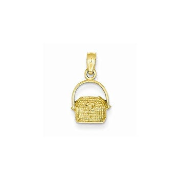14k Small Nantucket Basket Pendant, Best Quality Free Gift Box Satisfaction Guaranteed