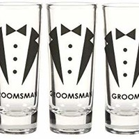 Blue Panda Party Favors Shot Glasses - Bachelor Shot Glasses Tuxedo Groom, Best Man & Groomsman Prints- Set of 5, 2 oz Each