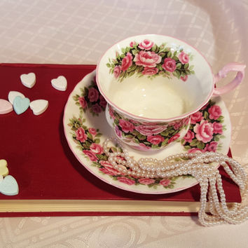 """Royal Albert """"Rosa"""" Fragrance Series, Pink And White, Tea Cup and Saucer, 1950s"""