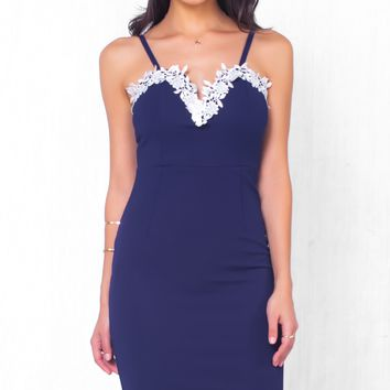 Indie XO Quiet Romance Navy Blue White Sleeveless Spaghetti Strap Lace Trim Plunge V Neck Bodycon Midi Dress - Just Ours!